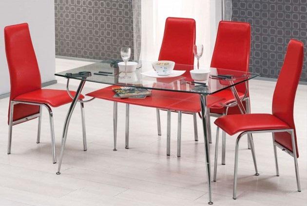 Kırmızı Mutfak Masa ve Sandalyesi