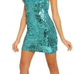 Pullu Mavi Bayan Kısa Abiye Modeli