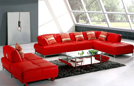 kırmızı çok şık deri koltuk modeli