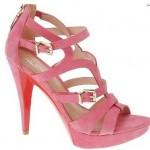 Pembe Süet Yazlık Topuklu Ayakkabı Modelı