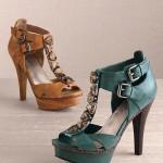 Yesıl ve Kahverengı Topuklu Ayakkabı Modelı