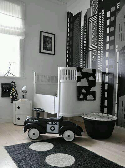 Siyah Beyaz Bebek Odası Dekorasyonu