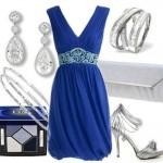 mavi modern elbise kombin modelleri