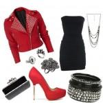 siyah straptez elbise kombin modelleri
