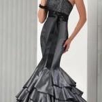modern gri balik elbise modelleri