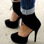 modern siyah yuksek topuklu ayakkabi modelleri
