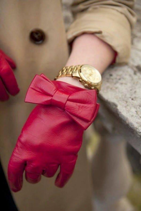 Kırmızı Bayan Deri Eldiven Modeli