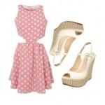 pembe puanli bayan elbise kombinleri