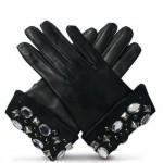 siyah tasli bayan deri eldiven modelleri