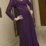 İşlemeli mor abiye elbise modeli