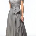 Dantelli gri abiye elbise modeli