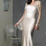 Dantelli saten krem şık abiye elbise modeli