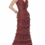Güpür dantelli askılı kahverengi abiye elbise modeli