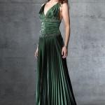 Kına yeşili saten abiye elbise modeli