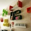 Modern renkli farklı dekoratif duvar rafı modelleri 100x100 Dekoratif Raf Modelleri