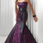 Mor satene siyah dantelli straples abiye elbise modeli