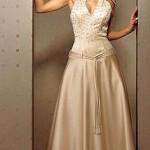 Sıfır kol yakalı krem abiye elbise modeli