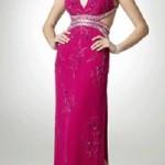 Sırt dekolteli desenli fuşya abiye elbise modeli