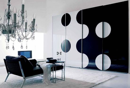 Siyah-beyaz modern gardrop modeli