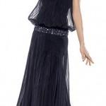 Straples siyah abiye elbise modeli