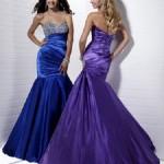 Taşlı saten abiye elbise modeli