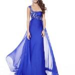 Tek askılı taş işlemeli şifon mavi abiye elbise modeli