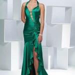 Yeşil fırfırlı saten abiye elbise modeli
