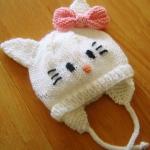 beyaz kedili kız çocuk bere modeli