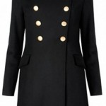 ingiliz düğmeli siyah uzun bayan manto modeli