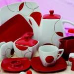 kırmızı beyaz karaca kahvaltı seti modeli