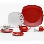 kırmızı beyaz takım karaca kahvaltı seti modeli