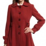 kırmızı uzun bayan manto modeli