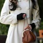 kirli beyaz uzun bayan manto modeli