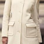 krem renk uzun bayan manto modeli