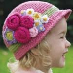 pembe çiçekli kız çocuk bere modeli