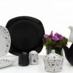 siyah beyaz karaca kahvaltı takımı