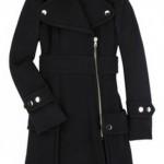 siyah fermuarlı uzun bayan manto modeli