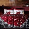 siyah kırmızı güllerle süslü bellona çift kişilik uyku seti modeli