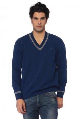 v yakalı mavi kiğılı erkek kazak modeli