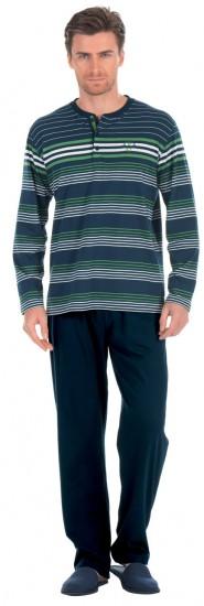 yeşil gri lacivert çizgili takım dagi erkek pijama modeli