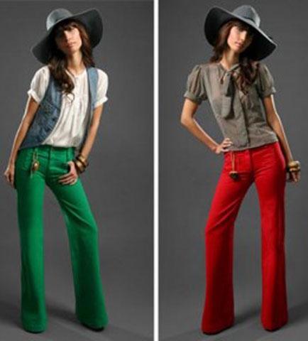 yeşil kırmızı bayan kumaş pantolon modeli