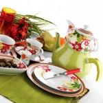 yeşilli çiçeki karaca kahvaltı seti modeli