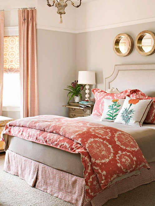 gold-mirrors-coral-bedroom-bhg