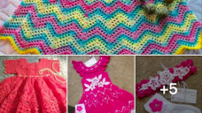 Kız Çocukları İçin Tığ İle Örülmüş Delikli Elbiseler
